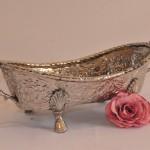 Long silver bowl